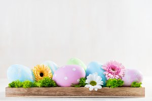 Easter decoration - eggs and flowers on a wood