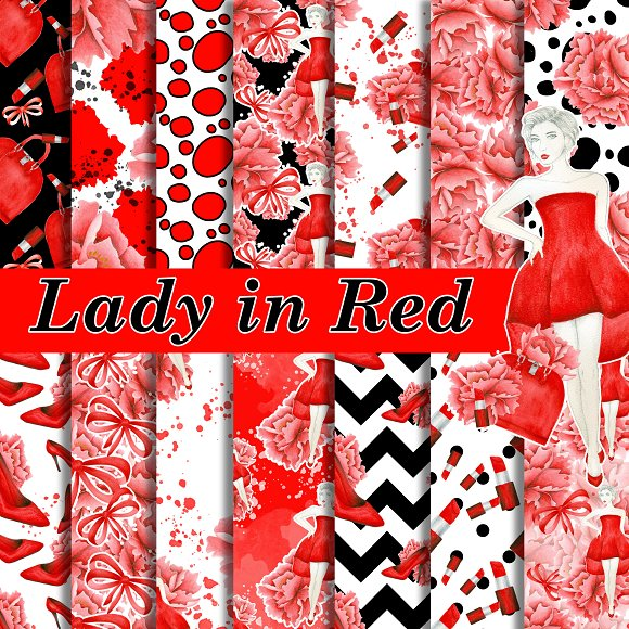 Lady in red papers