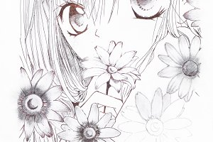 Drawing in the style of anime. Picture of a girl in the flowers in the picture in the style of Japanese anime