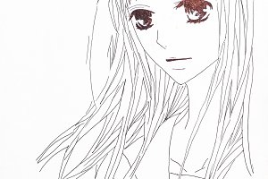 Drawing in the style of anime. Picture of a girl in the picture in the style of Japanese anime.