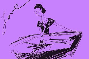 Vector gracile ballerina with Love lettering.
