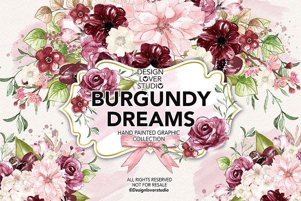 Watercolor Burgundy Dreams design