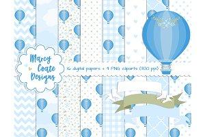 Blue Hot Air Balloons