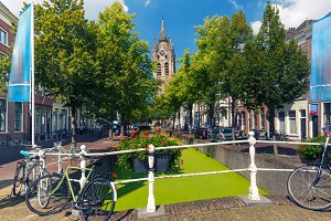 Canal in Delft, South Holland, Netherlands.