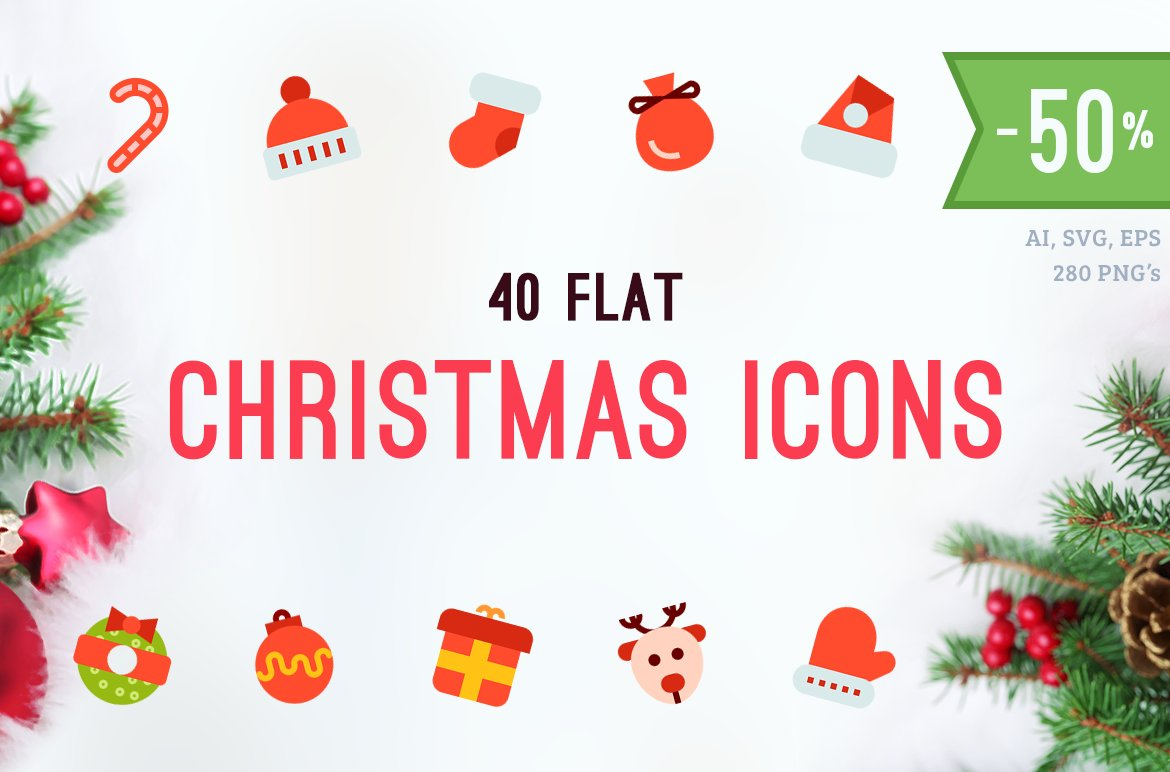 Merry Christmas Flat Vector Icons ~ Icons ~ Creative Market
