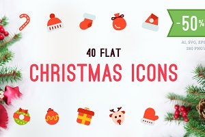 Merry Christmas Flat Vector Icons