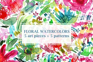 Floral watercolors: 10 files