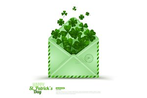Saint Patrick's Day Envelope with Green Clovers