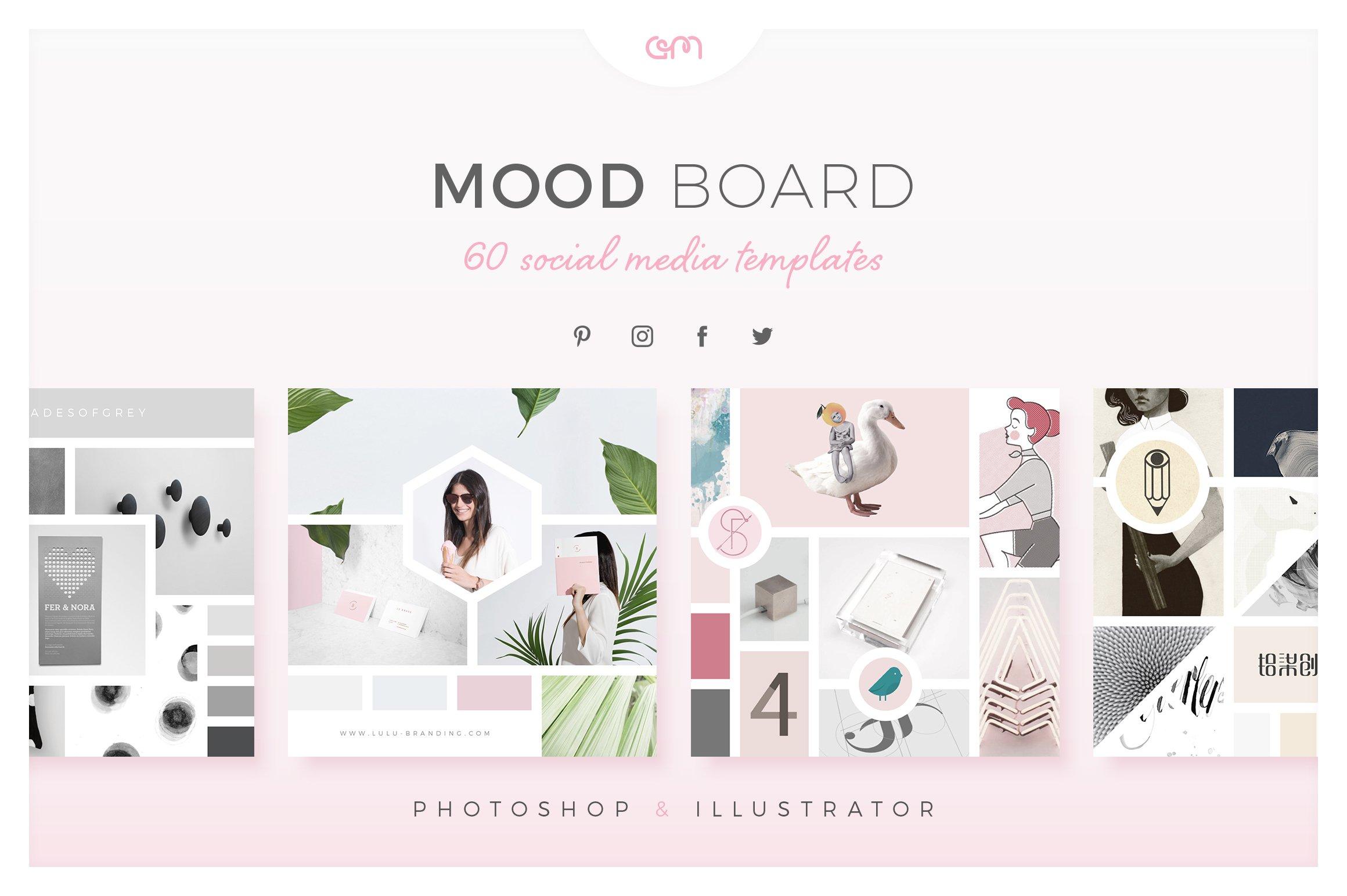 mood board pack social media templates creative market. Black Bedroom Furniture Sets. Home Design Ideas