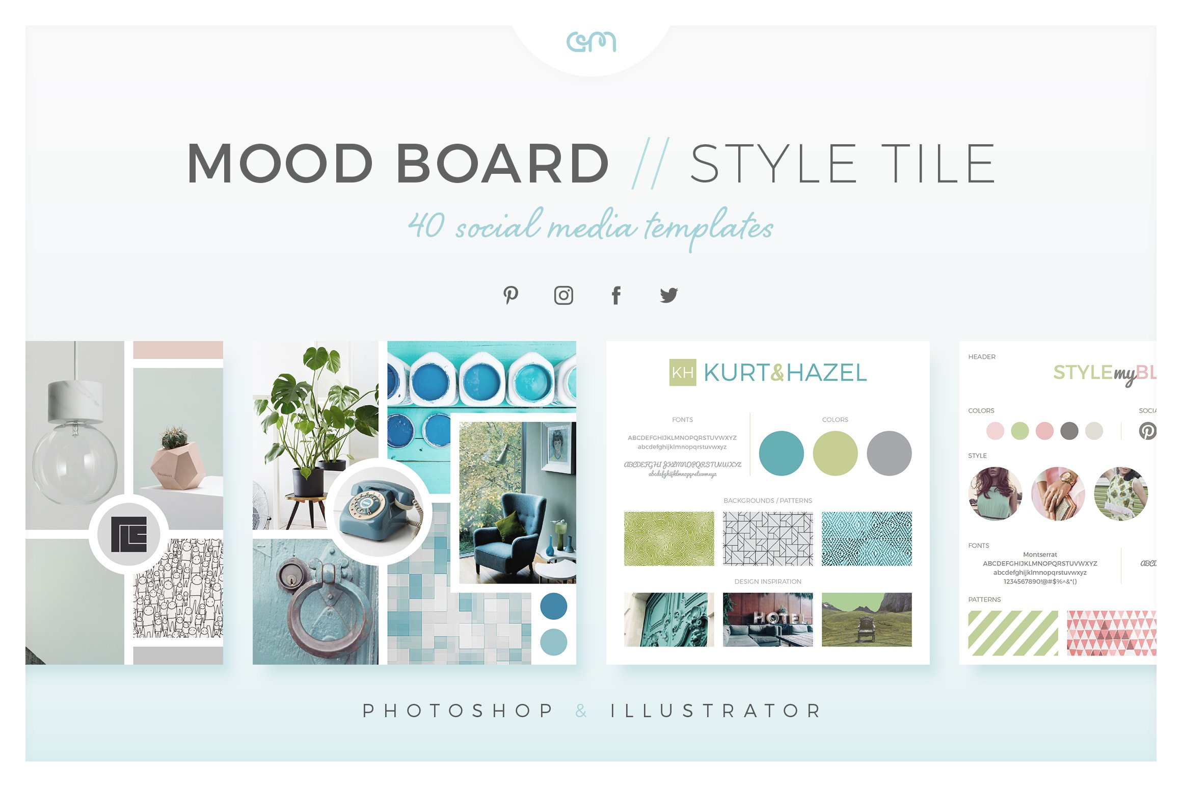 Mood Board Style Tile Pack Social Media Templates Creative Market