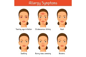 Allergy symptoms. Vector illustration for medical websites advertising medications