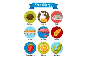 Food allergy background with allergens and symbols. Vector illustration for medical websites advertising medications
