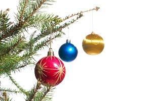 Christmas decorations on pine tree