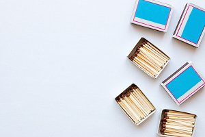 matchboxes on white background