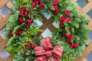 Holiday wreath of evergreens