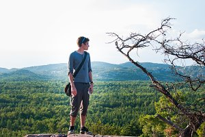 Teen Boy on a Hiking Trail Lookout