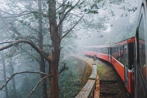 Classic train into the foggy forest