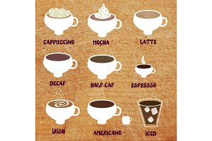 Coffee sorts set - vectors