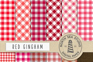 Red Gingham Digital Paper