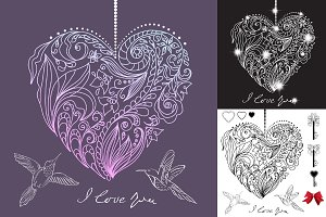 4 Digital Card with floral HEARTs