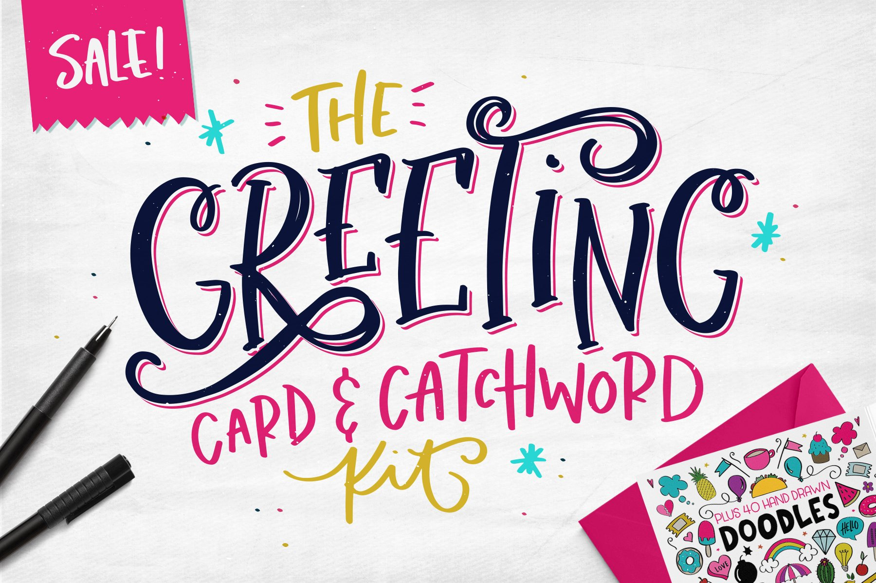The Greeting Card Catchword Kit Illustrations Creative Market