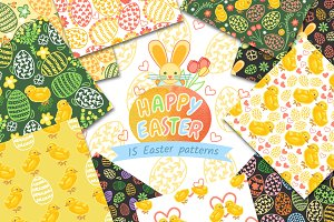 15 Happy Easter patterns.
