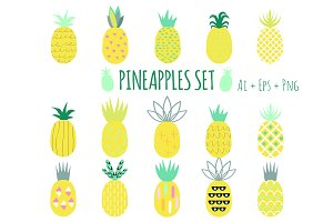 Creative Pineapples Set Vector