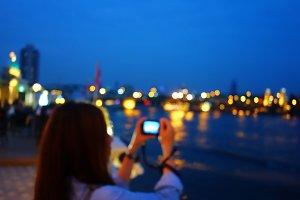 Blurred river night scene