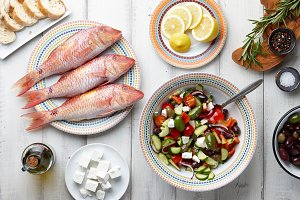 Red mullet fish and mediterranean dishes cooking