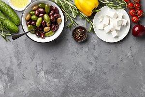 Greek salad main ingredients