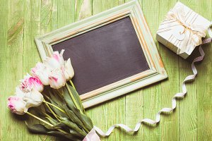 Tulips on chalkboard