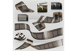 Old film strip, 3d vector icon set