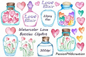 Watercolor Love Bottles Clipart