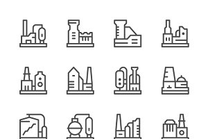 Set line icons of factory