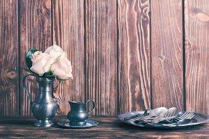 Vintage metal ware still life