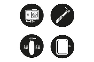 Action camera. 4 icons. Vector