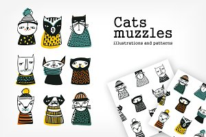 Vector set. Cats muzzles and pattern