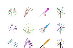 Color fireworks vector set