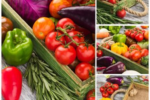 Collage made from different colorful vegetables in the wooden tray, top view