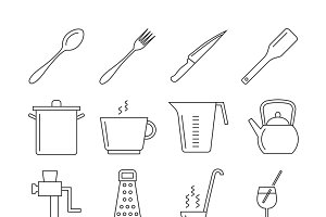 Cooking and kitchen tools icons