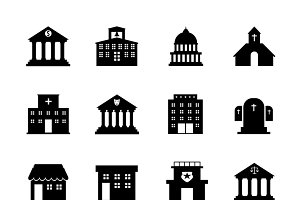 Government and public building icons