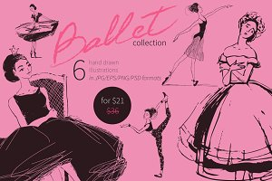 Ballet hand drawn vector collection.