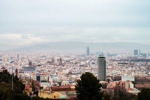 Panoramic view of picturesque Barcelona cityscape, Spain