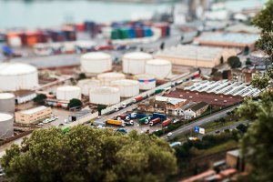 Landscape from bird view of industrial port. Barcelona, Spain