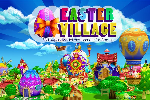 3D Environment - Cartoon Easter Village