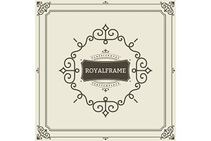 Vector Frame Template. Vintage Ornament Greeting Card. Flourishes Ornament Retro Royal Luxury Invitation, Certificate with place for your Text. Ornamental Frame