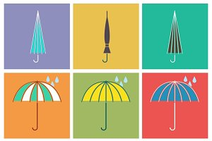 Umbrella vector icons in flat style