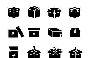 Box vector icons set