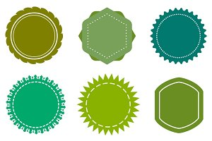Eco blank green badges set
