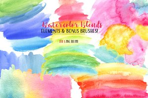 Watercolor Elements & BONUS Brushes
